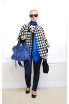 blue Alexander McQueen scarf - blue balenciaga bag - black Ray Ban sunglasses -