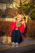 heather gray knit and cute scarf - hot pink Lecaf jacket - brown Miss Nabi bag