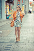light orange Sheinside jacket - bronze asos boots - white nowIStyle dress