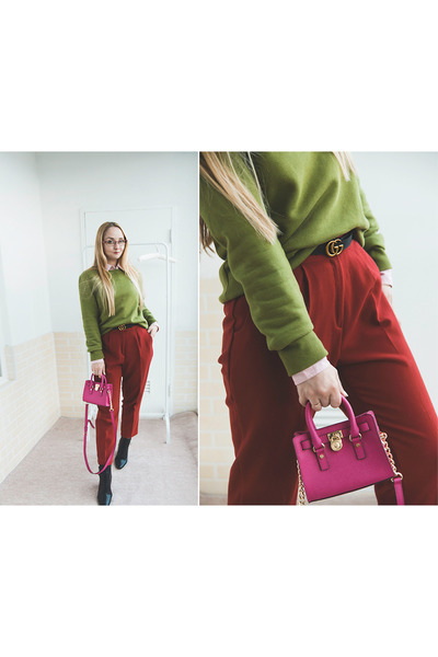hot pink Michael Kors bag - black Gucci belt