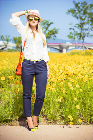 red Miss Nabi bag - light yellow Choies sunglasses - white awwdore blouse