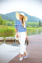blue Choies earrings - white blackfive hat - white Choies pants