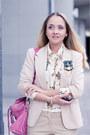 White-miss-nabi-flats-ivory-forever-21-blazer-bubble-gum-balenciaga-bag