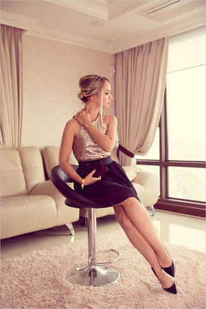 peach Love dress - black Miss Nabi heels - light pink H&M bracelet