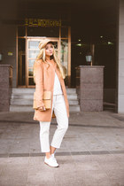 bronze Sheinside coat - camel similar brixton hat - white Choies pants