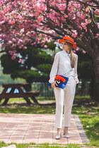 carrot orange Choies hat - white romwe vest