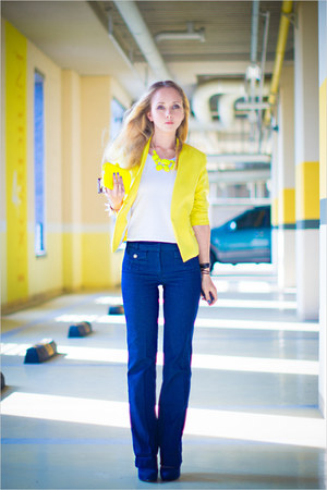yellow vivilli blazer - blue Forever 21 jeans - yellow Miss Nabi purse