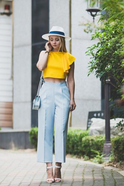 yellow romwe top - light blue cambridge satchel bag