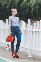 red zaful bag - blue romwe jeans - red Choies sandals