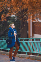 blue Styled Moscow coat - blue romwe bag - orange Styled Moscow socks