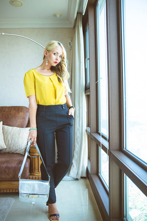 silver StyleMoi bag - black Choies pants - yellow OASAP blouse