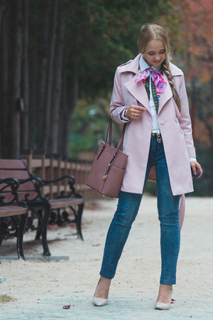 bubble gum Chicwish coat - blue Yoins jeans - bubble gum Michael Kors bag