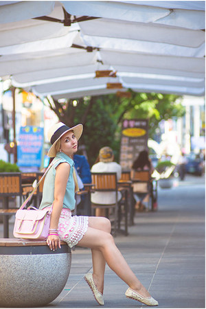 light pink PERSUNMALL bag - off white H&M hat - off white OASAP flats