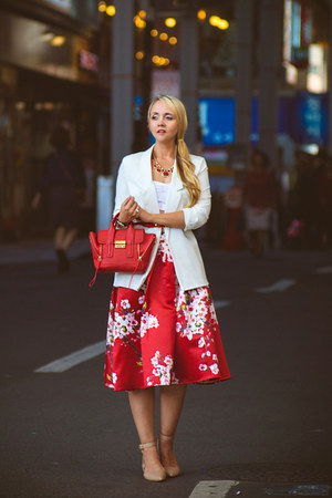 white Chicwish blazer - red Choies skirt - nude sam edelman flats