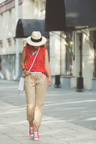 red Larmoni blouse - white Rebecca Minkoff bag - red Converse sneakers