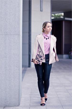 romwe bracelet - BRIANNEFAYE bag - Victorias Secret blouse - Miss Nabi cape