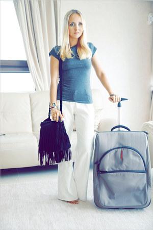 black Miss Nabi bag - black Chinese-Apparel necklace - white benetton pants
