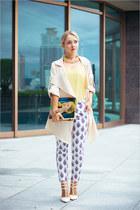 white Sheinside pants - off white Sheinside coat - blue ipad case snupped purse