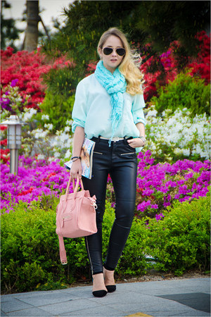 black asos sunglasses - aquamarine Forever 21 scarf - pink OASAP bag