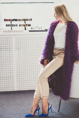 purple Looploopnsk cardigan - blue sam edelman heels