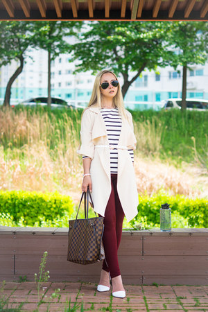 white Old Navy sweater - cream Sheinside shirt - dark brown Louis Vuitton bag
