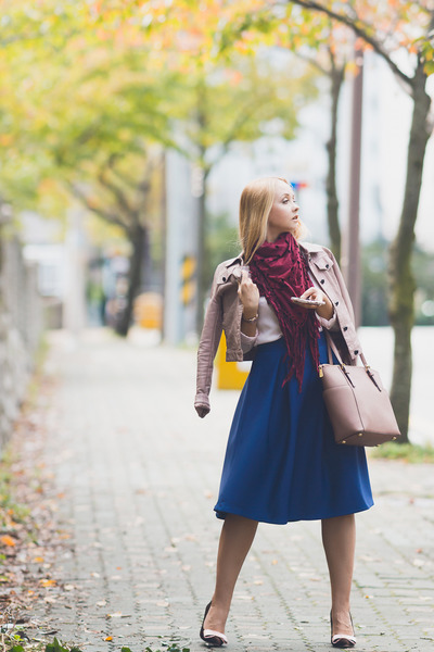 pink Michael Kors bag - blue romwe skirt