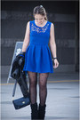 Blue-choies-dress-blue-sheinside-jacket-navy-nowistyle-bag