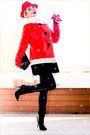 Red-sheinside-coat-red-h-m-hat-black-romwe-pants