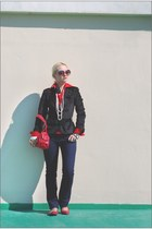 navy Levis jeans - black Armani Exchange jacket - red Forever 21 flats - white F