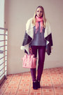 Olive-green-romwe-coat-silver-nowistyle-sweater-bubble-gum-forever-21-scarf