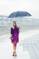 purple Miss Nabi dress - black Forever 21 cardigan - black Zara heels