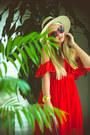 Red-6ks-dress-eggshell-h-m-hat-red-oasap-sunglasses