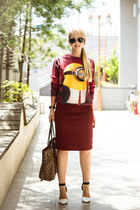 brick red Christin Michaels skirt - brown Louis Vuitton bag