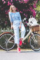 light blue romwe blouse - hot pink nike sneakers