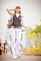 white Maro Catte jeans - black Forever 21 jacket - white Converse sneakers