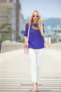 Bubble-gum-persunmall-bag-blue-oasap-blouse-white-choies-pants