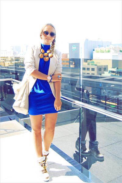 gold bought in Thailand necklace - blue Korean dress - beige Forever 21 jacket