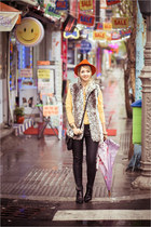 red H&M hat - black OASAP boots - black romwe pants - light yellow nowIStyle top