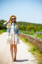 neutral Topshop hat - white Chicwish dress - light blue Forever 21 jacket