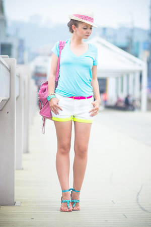 hot pink balenciaga bag - white Imomoi shorts - aquamarine Chicwish watch