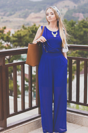 blue WalG suit - tawny Michael Kors bag - light yellow Mart of China necklace