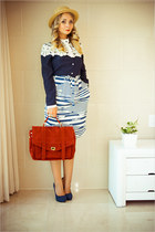 maroon Udobuy bag - maroon WOAKAO jacket - blue Count the sheep skirt