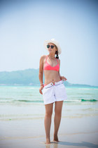 white JCrew hat - black ray-ban sunglasses - salmon Plumeria swimwear