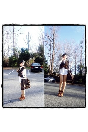 brown vest - bronze boots - black hat - eggshell tights - dark brown bag