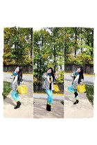 aquamarine tights - black boots - white jacket - teal sweater - mustard bag