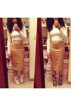 mocha pvc skirt Missguided skirt - OASAP shoes - Windsor Smith shoes - asos top