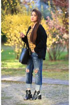 mustard cotton PERSUNMALL shirt - blue leather Zara jeans - black PERSUNMALL bag