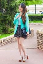 aquamarine Choies blazer - black Zara bag - white H&M t-shirt