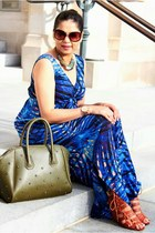 blue TJ Maxx dress - sky blue Anthropologie necklace - Fendi glasses