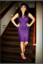 deep purple Ralph Lauren dress - pink Nine West heels
